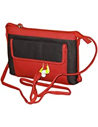 Leather Medium Size Premium Quality Travel Sling Bag For Women And Girls - Black&Red