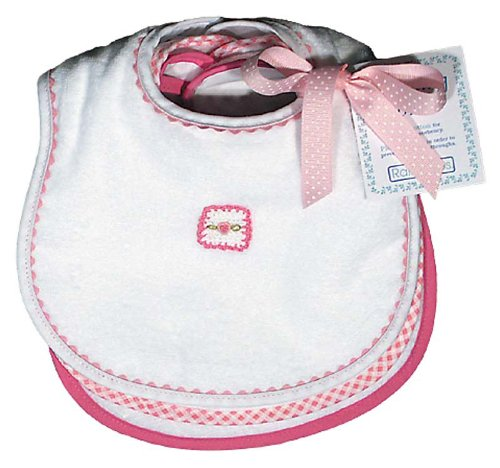 Raindrops Pastel Teething Bib Set, White/Pink
