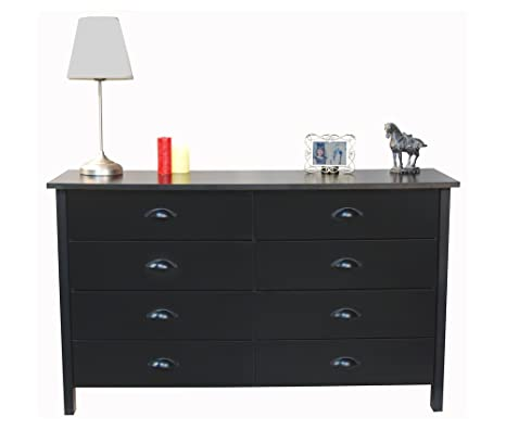 Nouvelle Double Dresser w 8 Drawers in Black Finish