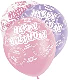 Unique Party 12-Inch Glitz Latex Birthday Balloons (Pack of 6, Pink)