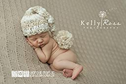 Striped Tan Tones Chunky Newborn Elf Hat Photography Prop, Baby Props, Newborn Prop, Photo Props, Handmade Hat, Pom Pom Hat, Ivory Yarn