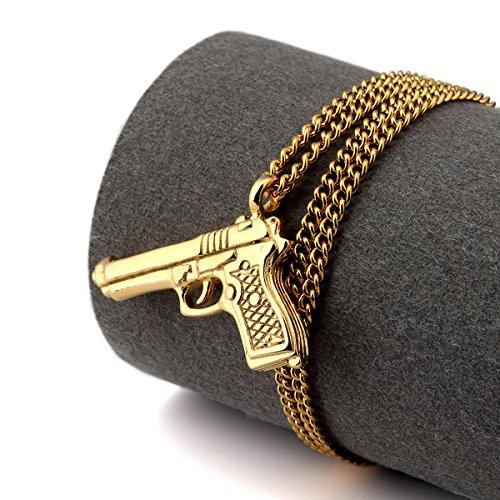 NYUK New Arrival Mens Trend Hip Hop Rap Pistol Gun Pendant Necklace(Gold)