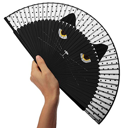 Katara Decor - Black Cat Hand Fan - Handheld Folding Animal Wedding Fan
