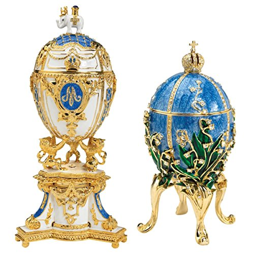 Design Toscano Empress Valentina and Empress Galina Faberge-Style Collectible Enameled Eggs