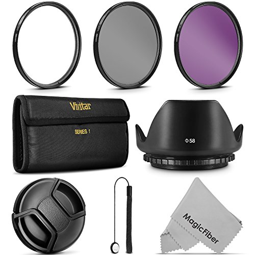 58MM Professional Lens Filter Accessory Kit (Vivitar Filter Kit (UV, CPL, FLD) + Carry Pouch + Tulip Lens Hood + Snap-On Lens Cap w/ Cap Keeper Leash + MagicFiber Microfiber Lens Cleaning Cloth) (Camera Uv Filter compare prices)