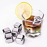 HDE Stainless Steel Whiskey Rock Stones Reusable Ice Cube Chilling Set with Tongs and Tray for Cold Drinks