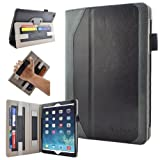 Caseen Apple iPad Air Genuine Leather Case (Black/Grey) w/ Smart Cover Auto Sleep / Wake, Card Holders, Hand Strap, Stylus Holder (100% Real Authentic Leather Slim Folio) - DESIGNO Series