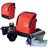 First2savvv high quality anti-shock Orange Nylon camcorder case bag for Canon LEGRIA HF S30 LEGRIA HF M52 LEGRIA HF M56 LEGRIA HF M506 LEGRIA HF R48 with mini tripod