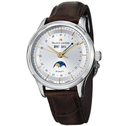 Maurice Lacroix Men's LC6068-SS001132 Les Classiqu Silver Moon Phase Dial Watch