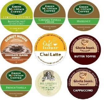 18 Count - Flavored Coffee Variety Sampler K-Cup for Keurig Brewers - Island Coconut, Caramel Vanilla Cream, Hazelnut, Chocolate Glazed Donut, Chai Latte, Butter Toffee, Cappuccino, White Chocolate Mint, French Vanilla From Green Mountain, Gloria Jean, Van Houtte, Donut House, Cafe Escape
