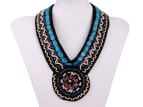 Tribal And Ethnic Inspired Zig Zag Swag Faux Turquoise Statement Bib Necklace