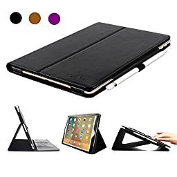 iPad Pro 9.7 Case, BoriYuan Vintage Genuine Leather Smart Cover Protective Slim Folio Flip Stand for Apple iPad Pro 9.7 Inch with Card Slot Magnetic Sleep/Wake+Stylus+Screen Protector, Black