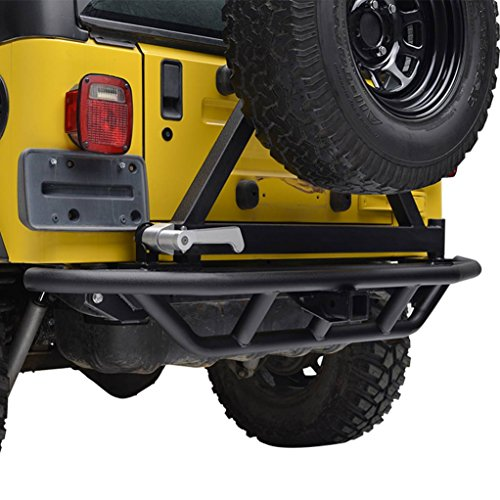 E-Autogrilles TJ YJ Jeep Tubular Rear Bumper with Tire Carrier and 2 inch Hitch Receiver