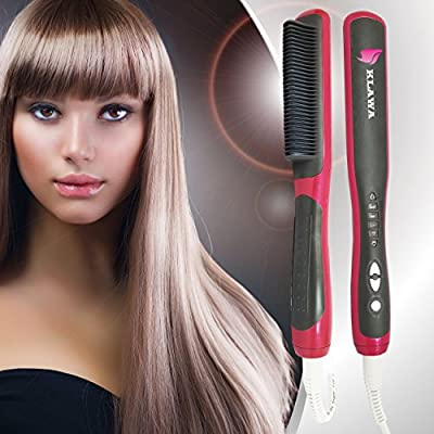 Klawa Hair Straightener Brush - Best Professional Electric Ceramic Heated Detangling Hair Brush-Styler-Comb - Anti Static & Anti Scald Design for Beauty Styling - Salon Care for Silky Frizz-free Hair