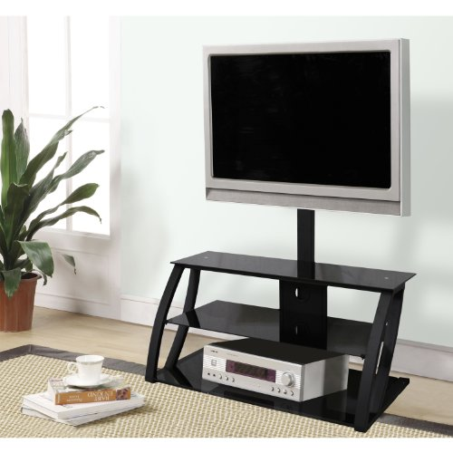 Home Source Industries TV11235 Modern TV Stand with Mount and Shelving for Components, Black picture
