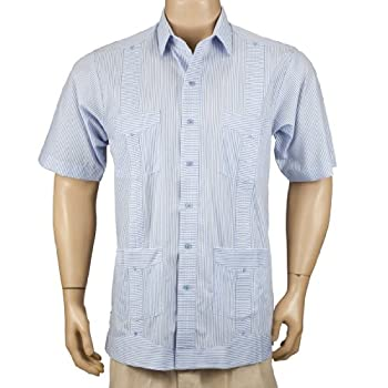 Deluxe Short Sleeve fitted White-Blue Stripped Guayabera