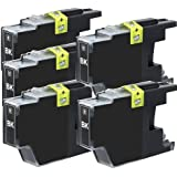 5-PACK Brother Compatible LC75 (LC-75) Black High Yield Ink for