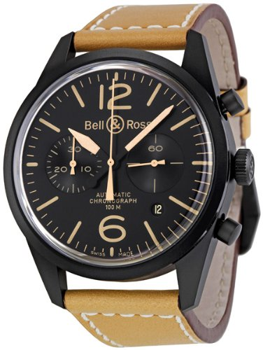 Bell & Ross Men's BR126-HERITAGE Vintage Black Chronograph Dial and Brown Strap Watch