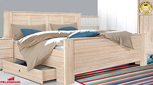 Bett 600192 Doppelbett inklusive Bettschubkästen eiche sägerau 180x200cm