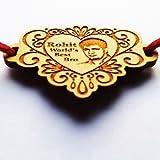 Heart Shaped Engraved Wooden Photo Rakhi