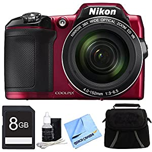 Nikon COOLPIX L840 16MP 38x Opt Zoom Digital Camera 8GB Accessory Bundle - Red - Includes Camera, 8GB Secure Digital SD Memory Card, Compact Deluxe Gadget Bag, Cleaning Kit and Cleaning Cloth