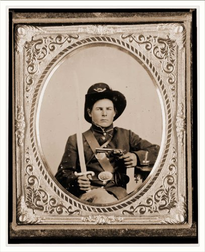 Civil War Photo (M): George Kimbrue Pvt. 93rd Indiana Infantry U.S.A. half-length portrait seated holdin