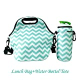 Amerzam Neoprene Lunch Bags/Lunch Boxes, Waterproof Outdoor Travel Picnic Lunch Box Bag Tote with Zipper and Adjustable Crossbody Strap (Light Blue Lunch bag+Water Bottle Tote)