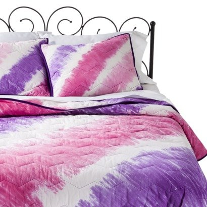Xhilaration Tie Dye Pink And Purple Bed Quilt Full/Queen front-913502