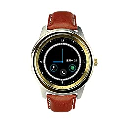Megadream® Bluetooth 4.0 HD IPS Screen Smart Watch with Pedometer/Voice Control/Anti-lost/Step Recording/Sleep Monitoring/ Self-timer/Sedentariness Reminder-Gold