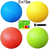 5 Inch Playground Balls (Set Of 4) With 1 Hand Pump