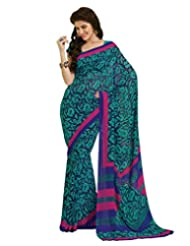 Inddus Exclusive Women Attractive Blue Georgette Printed Saree