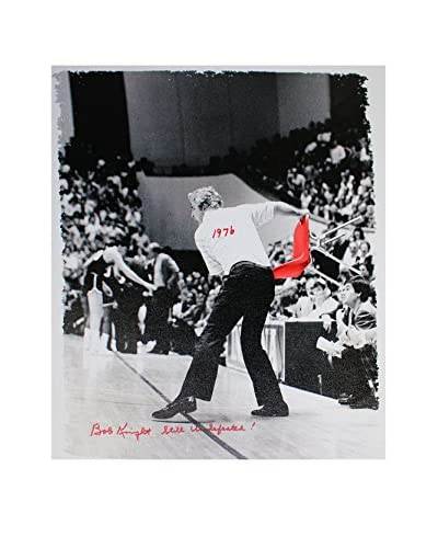 Steiner Sports Memorabilia Bob Knight Signed Throwing Chair Canvas with 1976, Still Undefeated Ins...