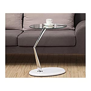 Amazon Com Monarch Metal Accent Table Tempered Glass