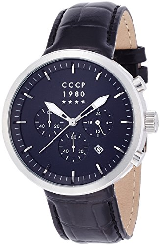 CCCP CP-7007-02 Black Dial with Black Leather Strap Men's Analogue Watch with Date Window and Chronograph Subdial