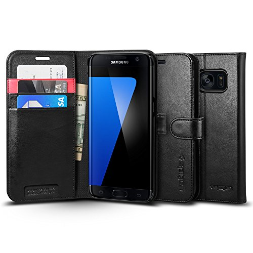 【Spigen】 Galaxy S7 Edge ケース, ウォレット S [ 手帳型 レザー スタンド機能 ] ギャラクシー S7 エッジ 用 カバー (Galaxy S7 Edge, ブラック)