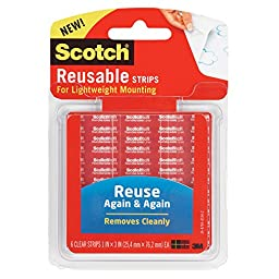 Scotch Restickable Strips, 1 x 3 Inches, 6 Strips, 3-PACK