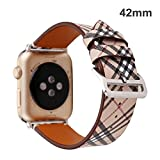 TCSHOW For Apple Watch Band 42mm,42mm Soft PU Leather Pastoral/Rural Style Replacement Strap Wrist Band with Silver Metal Adapter for Apple Watch Series 3 /2/1(Not for Apple Watch 38mm) (Z8)
