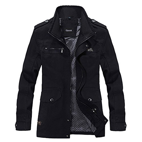 Zicac 2015 New Mens Spring Autumn Military Slim Fit Long Sleeve Cotton Casual Lightweight Warm Zipped Drawstring Jacket Parka Trench Coats Blazer Outerwear with Multi Pockets (Asia XXXL:UK XL, Black)