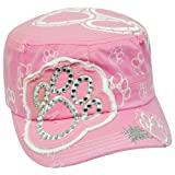Paw Print Distressed Rhinestone Military Fatigue Women Gems Pink Velcro Hat Cap