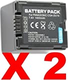 2X CGA-DU14 Batteries for Panasonic PV-GS300 GS39 Camcorders
