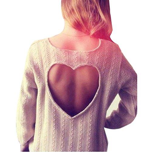 Donne forma di cuore vuoto-Knit maglione a maniche lunghe camicetta superiore (L, Bianco)