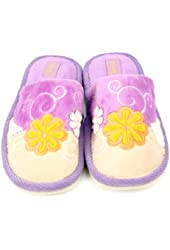 Women Floral Fuzzy Soft Cushion Indoor Outdoor Rubber Sole Slippers Purple S 5-6