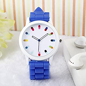 Women Ladies Clourful Dots Silicone Unisex Unisex Quartz Watch JJC001-Blue