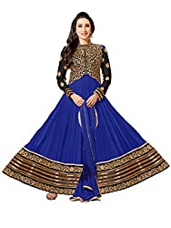 Whatshop Karishma Kapoor Beautiful Blue and Black Embroidered Anarkali Suit