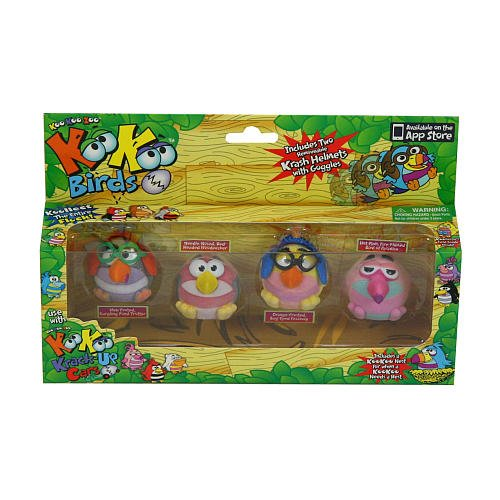 Koo Koo Birds 4 Pack (Pond Trotter, Woodpecker, Fezziwig, and Bird of Paradise)
