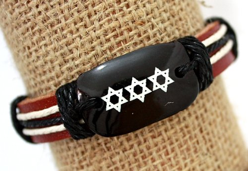 Star Of David Friendship Leather Bracelet Shamballa Brown