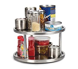 RSVP Brushed Stainless Steel Two-Tier Spice Turntable NEW