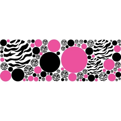 Zebra print black and hot pink dots wall for Zebra print and red bathroom ideas