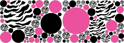 Zebra Print, Black And Hot Pink Dots/Wall Stickers,Decals,Graphic Decor