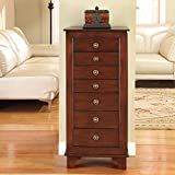 Nathan Direct Cayman 7 Drawer Locking Jewelry Armoire, Walnut, MDF/Poplar/Veneer